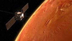 "Spacecraft ""Mars Express"" Orbiting Mars Stock Footage"