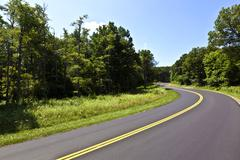 Beautiful scenic country road curves through shenandoah  national park. Stock Photos