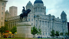Port Authority Building at Liverpool Pier head, tilt - stock footage