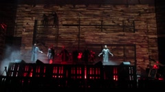 "Actors rehearse on the stage of the Opera ""Coriolanus"" Stock Footage"