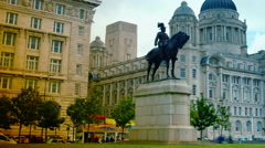 Port Authority Building at Liverpool Pier head, pan - stock footage