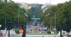 VIENNA - AUSTRIA: View from Schonbrunn garden to viennese street, 4K Stock Footage