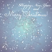Stock Illustration of new year greeting card. congratulations on christmas. circle lace hand-drawn
