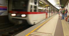 Vienna Wien U-Bahn subway metro train arrive station underground Austria people Stock Footage