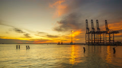 Busy Container Port During Sunset Stock Footage