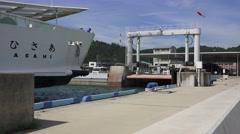 Close Up Japanese Ferry Boat Approaching Docking Pier Naoshima 03 4K Stock Footage