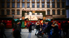 Time Lapse 4K UHD FHD Germany Munich Marienplatz Christmas Fair Market festival Stock Footage