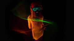 4k glow uv neon sexy disco female cyber doll robot electronic toy - stock footage