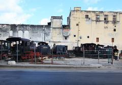 Warehouse of old locomotives. - stock photo