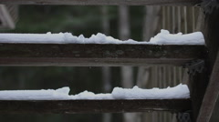Man Walks Up Snowy Stairs Enters From Left Close Stock Footage