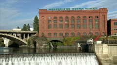 Spokane River in Downtown Spokane, Washington Stock Footage