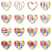 Stock Illustration of valentine heart with patterns, set