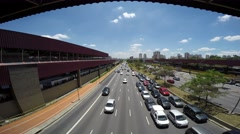 Traffic on the Famous Radial Leste Avenue in Sao Paulo, Brazil. Stock Footage