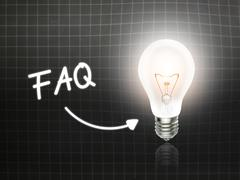Faq bulb lamp energy light blackboard Stock Illustration