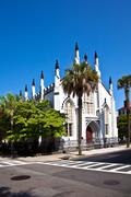 huguenot church in charleston - stock photo