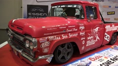 4k Motorshow tuned Ford F100 exhibition Stock Footage