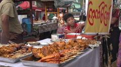 Yangon, food stall at street fair - stock footage