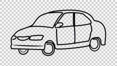 Car video cartoon illustration hand drawn animation with transparent background Stock Footage