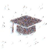 Stock Illustration of People in the form of graduate cap