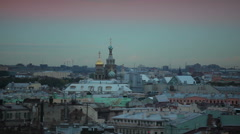 Church of the Savior on Spilled Blood in St. Petersburg in the evening Stock Footage