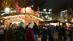 4K UHD FHD Germany Munich Marienplatz Christmas Fair Market festival night Stock Footage