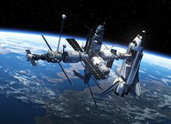 Space Shuttle And Space Station In Space - stock illustration