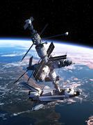 Space Shuttle Docking With Space Station Stock Illustration