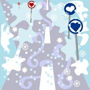 Cute alternative traffic signs around winter snowy frozen road Stock Illustration
