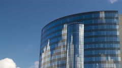 Mirror building  on blue sky background 4K Stock Footage