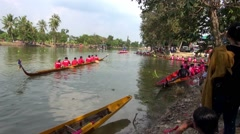 Long Boat Race and Hoedown in Thailand Stock Footage