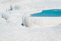 water-filled basins in pamukkale in turkey - stock photo