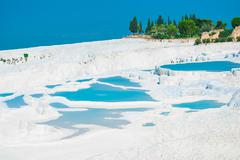Very nice view of pamukkale. natural landmark of turkey Stock Photos