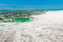 good clear weather and a beautiful view from the top of pamukkale - stock photo