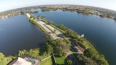Bridge crossing lakes aerial view Stock Footage