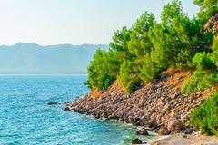 wild rocky beach of the aegean sea - stock photo