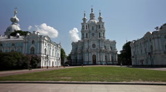 View on Smolnyi cathedral (Smolny Convent) St. Petersburg Stock Footage