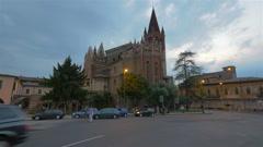Evening street in Verona, Italy Stock Footage