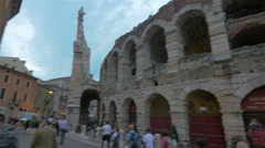 People around Verona Arena, Italy Stock Footage