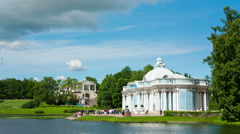 "Pavilion ""Grotto"" on  bank of  Big pond of Catherine Park. Pushkin. Petersburg - stock footage"