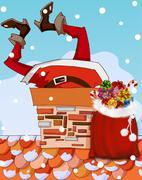 santa claus stuck in chimney - stock illustration