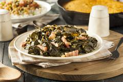 southern style collard greens - stock photo