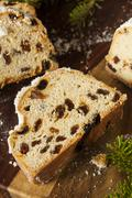 Festive christmas german stollen bread Stock Photos