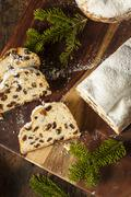 festive christmas german stollen bread - stock photo