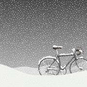 Snow covered bicycle illustration, calm winter scene Stock Illustration