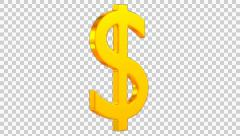 Animated spinning golden dollar sign with alpha channel in 4k Stock Footage