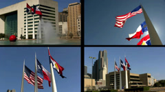 Split Screen Video: Multi Panel View of Dallas City Hall and Three Flags Stock Footage