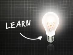 learn bulb lamp energy light blackboard - stock illustration