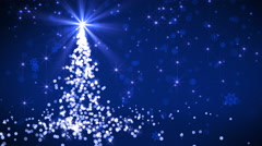 Blue Falling Lights Christmas tree Stock Footage