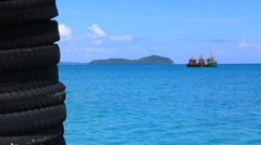 Beautiful Blue Ocean Tropical Fishing Boats Anchored Island Tyres Port Thailand Stock Footage