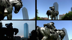 Split Screen Video: Bronze Cowboy with Dallas Skyscraper and blue sky Stock Footage